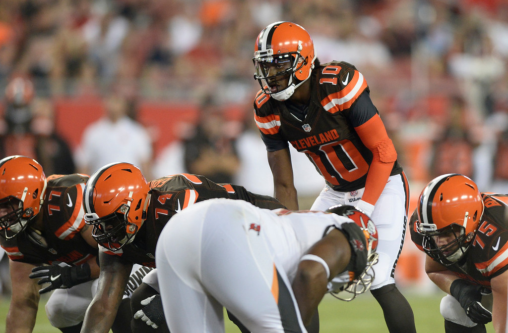 . Cleveland Browns quarterback Robert Griffin III (10) during the second quarter of an NFL football game against the Tampa Bay Buccaneers Friday, Aug. 26, 2016, in Tampa, Fla. (AP Photo/Jason Behnken)