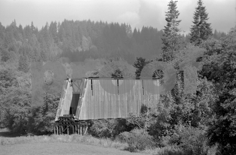 Railroad bridge over the Chehalis River near Curtis, WA. Photo taken in 1971.