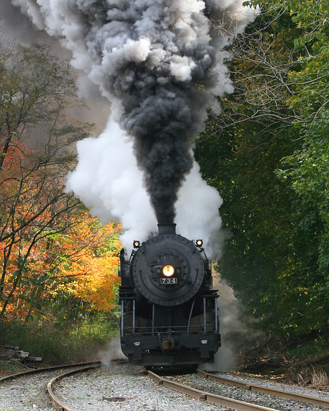 #724 approaches Frostburg in the late September foliage Western Maryland Scenic Railroad
