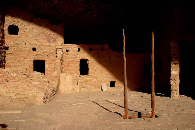 Underground rooms or Kivas with the ladder poking out were common.  Those rooms were used as ceremonial and meeting places.