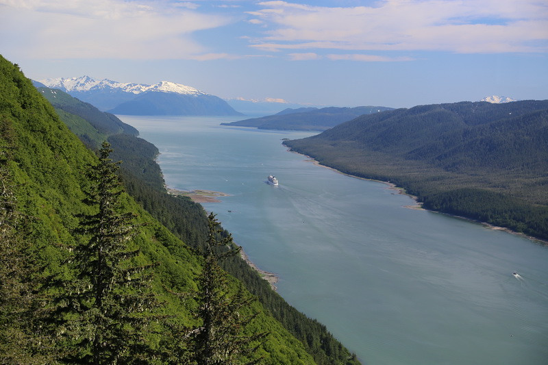 On top of Mt. Roberts in Juneau. Looking south at Stephen's Passage.