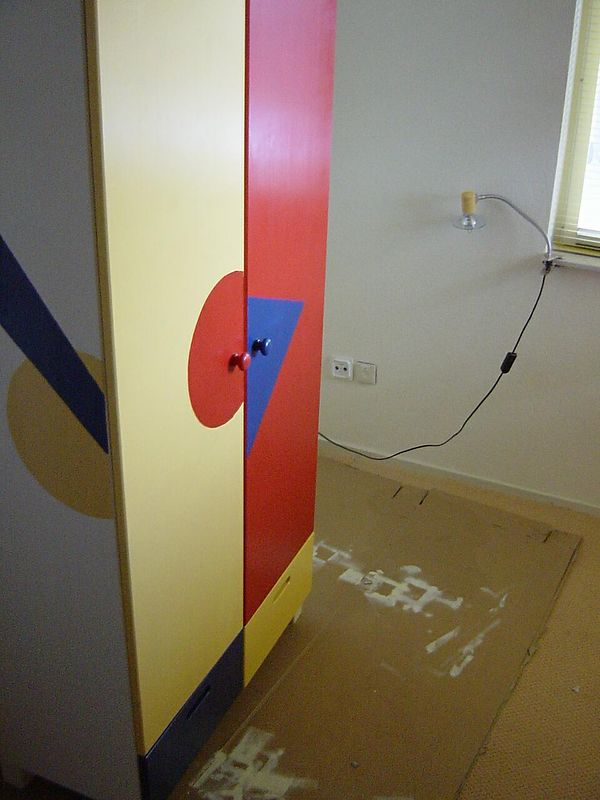 The baby stuff closet being painted