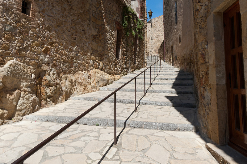 Stairs at a side street in Costa Brava, Spain