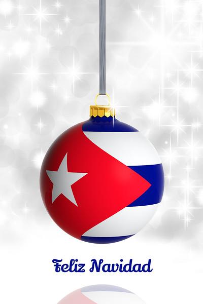 Merry Christmas from Cuba. Christmas ball with flag