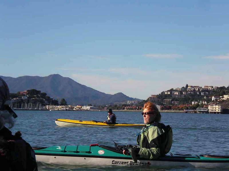 Paula on the return trip to Horseshoe Cove, with Tiburon and Belvedere in the background.