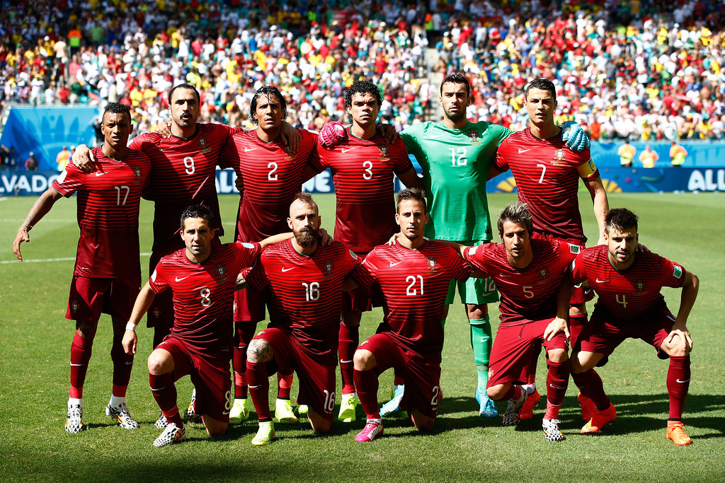 . Portugal players pose for a team photo before the 2014 FIFA World Cup Brazil Group G match between Germany and Portugal at Arena Fonte Nova on June 16, 2014 in Salvador, Brazil.  (Photo by Phil Walter/Getty Images)