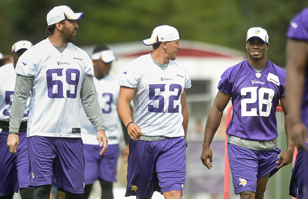 . From left, defensive end Jared Allen, outside linebacker Chad Greenway and running back Adrian Peterson head onto the field for Friday morning\'s workout. (Pioneer Press: Ben Garvin)