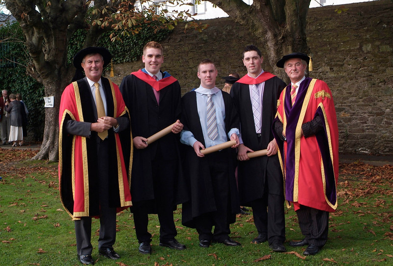 At the conferring of Academic Awards at Waterford Institute of Technology were pictured from left: Redmond O'Donoghue, Chairman, WIT; Ross Connor, Tullamore, Co.Offaly, (Higher Certificate in Construction Economics); James Mooney, Dunlavin, Co. Wicklow (BSc in Construction Economics); Colin Brown, Co. Kildare (Certificate in Construction Economics) and Prof. Kieran R. Byrne, Director, WIT.