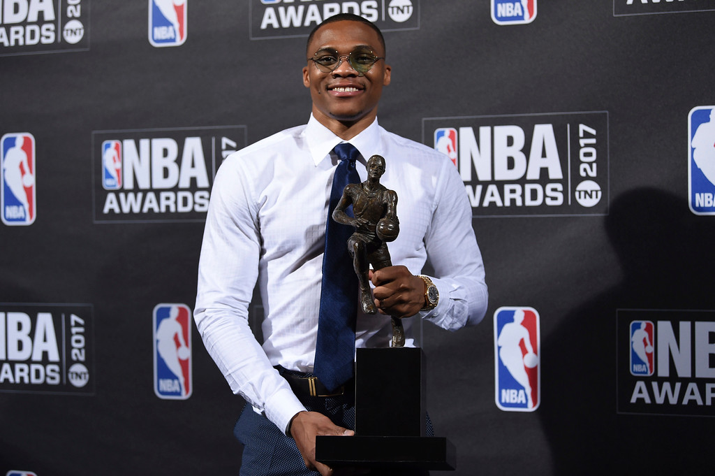 . Kia NBA Most Valuable Player, Best Style & Game Winner Award winner, Russell Westbrook, poses in the press room at the 2017 NBA Awards at Basketball City at Pier 36 on Monday, June 26, 2017, in New York. (Photo by Evan Agostini/Invision/AP)