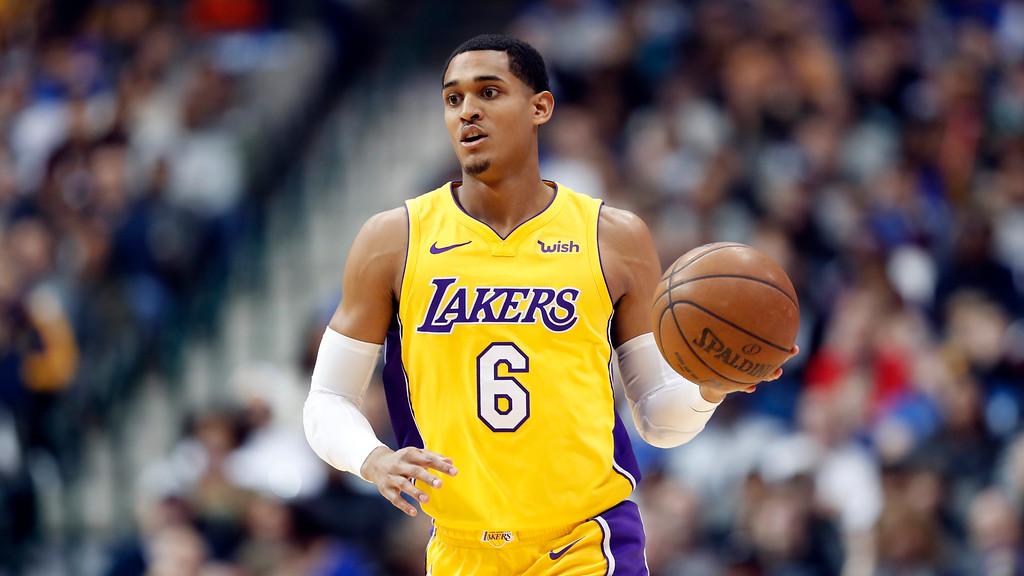 . Los Angeles Lakers guard Jordan Clarkson goes to the Cleveland Cavaliers. (AP Photo/Tony Gutierrez)