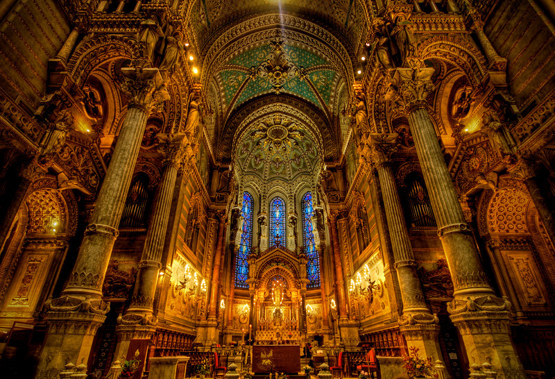 Notre Dame of Lyon This is the interior of the Basilique Notre Dame de Fourvre. It is probably the most lavish and beautiful cathedral I have ever been inside. It beats the other Notre Dame in Paris by a mile. I've never been in the Sistine Chapel, which is probably more lavish. I was going to visit it on my last trip to Rome but the Pope died the day I was there… so that one was… busy.- Trey RatcliffClick here to read the rest of this post at the Stuck in Customs blog.