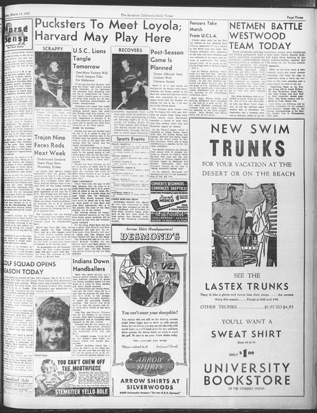 Daily Trojan, Vol. 28, No. 102, March 19, 1937