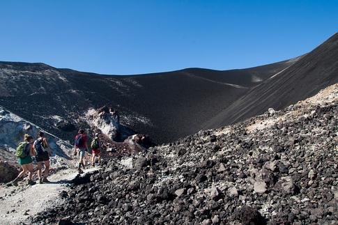 Walking through the crater of the Cerro Negro Volcano