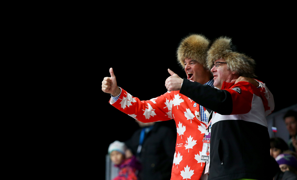 . Canadian fans attend the Luge Relay on Day 6 of the Sochi 2014 Winter Olympics at Sliding Center Sanki on February 13, 2014 in Sochi, Russia.  (Photo by Doug Pensinger/Getty Images)