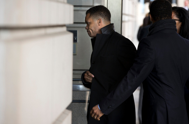 . Former Illinois Rep. Jesse Jackson Jr. arrives at the E. Barrett Prettyman Federal Courthouse in Washington, Wednesday, Feb. 20, 2013. Jackson and his wife were to appear in federal court to answer criminal charges that they engaged in an alleged scheme to spend $750,000 in campaign funds on personal items. (AP Photo/Evan Vucci)