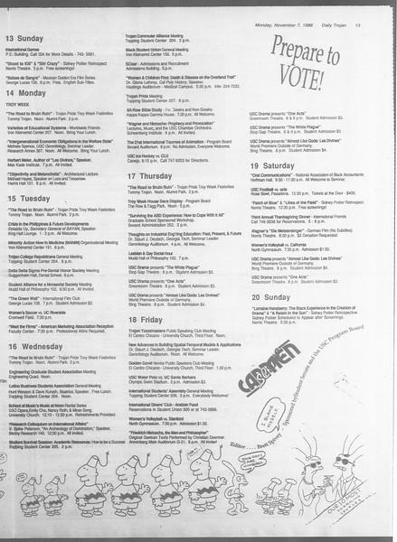 Daily Trojan, Vol. 107, No. 43, November 07, 1988