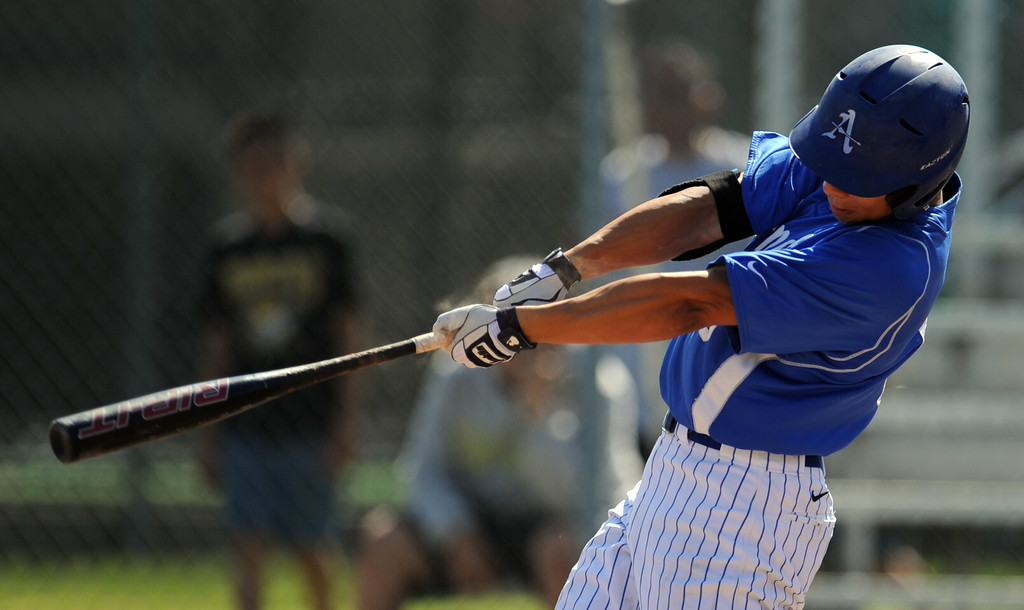 . Bishop Amat\'s Scott Hurst RBI sac fly in the second inning of a CIF-SS Division 3 first round playoff baseball game against Santiago at Bishop Amat High School on Wednesday, May 15, 2013 in La Puente, Calif. Bishop Amat won 12-3.  (Keith Birmingham Pasadena Star-News)