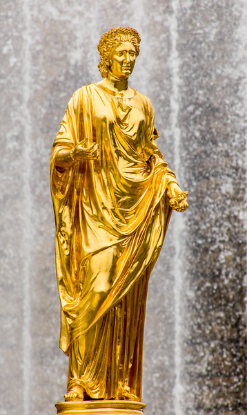 One of the many cascade statues at Peterhof, outside of St. Petersburg, Russia.