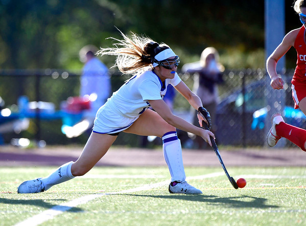 10/15/2019 Mike Orazzi | Staff Southington High School's Jenna Sheehan (11) during a 2-2 tie in field hockey action with Conard High School in Southington on Tuesday afternoon.