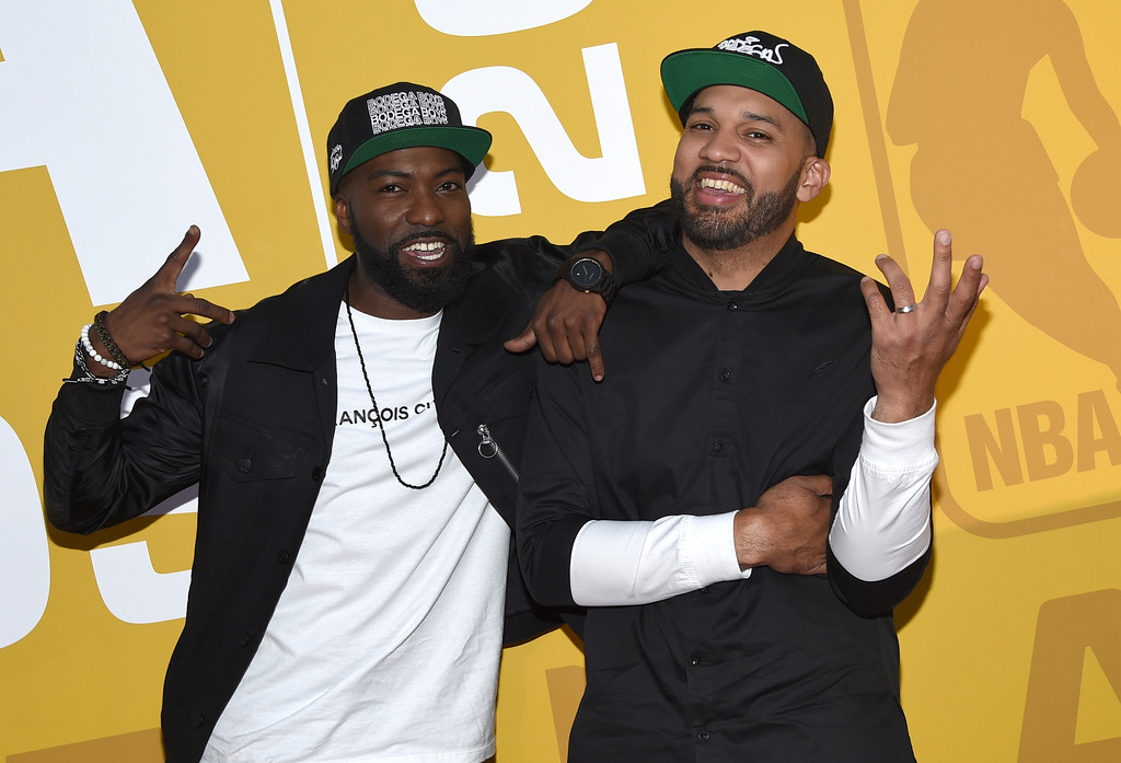 . Desus, left, and The Kid Mero, of Desus & Mero, arrive at the NBA Awards at Basketball City at Pier 36 on Monday, June 26, 2017, in New York. (Photo by Evan Agostini/Invision/AP)