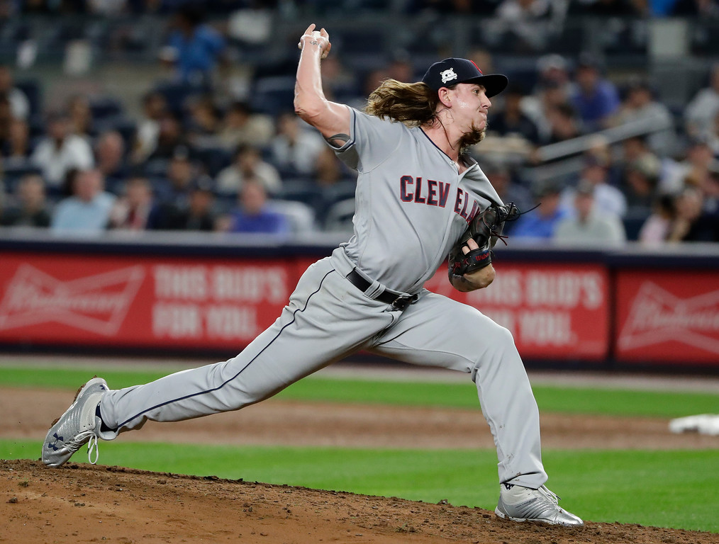 . Cleveland Indians pitcher Mike Clevinger) delivers against the New York Yankees during the third inning in Game 4 of baseball\'s American League Division Series, Monday, Oct. 9, 2017, in New York. (AP Photo/Frank Franklin II)
