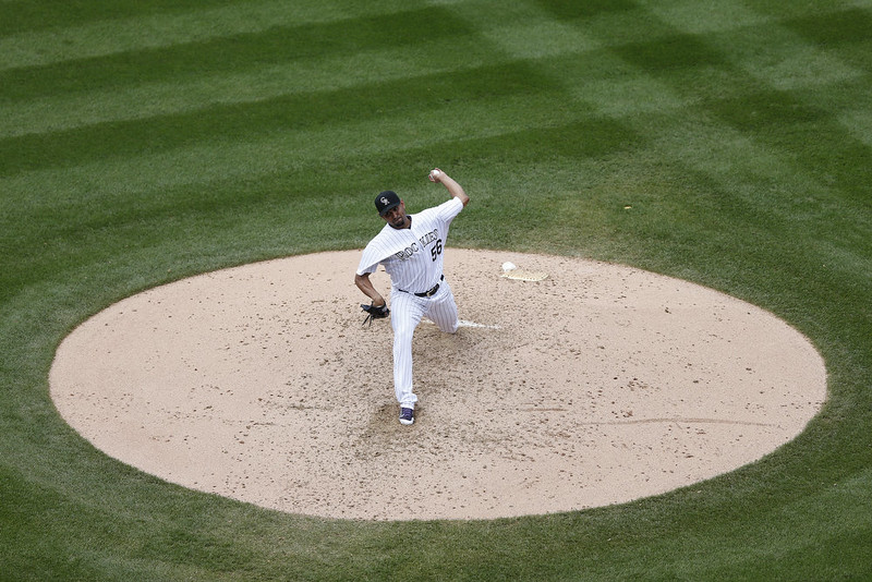 . Franklin Morales #56 of the Colorado Rockies pitches against the San Diego Padres during the game at Coors Field on September 7, 2014 in Denver, Colorado. The Rockies won 6-0. (Photo by Joe Robbins/Getty Images)