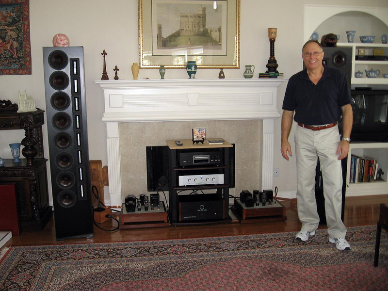 Our presenter, David Stanard, of Silver Circle Audio. Also in the picture: Esoteric DV-50S universal player, Marsh Sound Design P-2000T hybrid tube/ss linestage, Silver Circle Pure Power One power conditioner, Silver Circle Audio SET 300B monoblock amps, Selah Audio XT-8 line array speakers. The Silver Circle products can be seen at   http://www.silvercircleaudio.com/