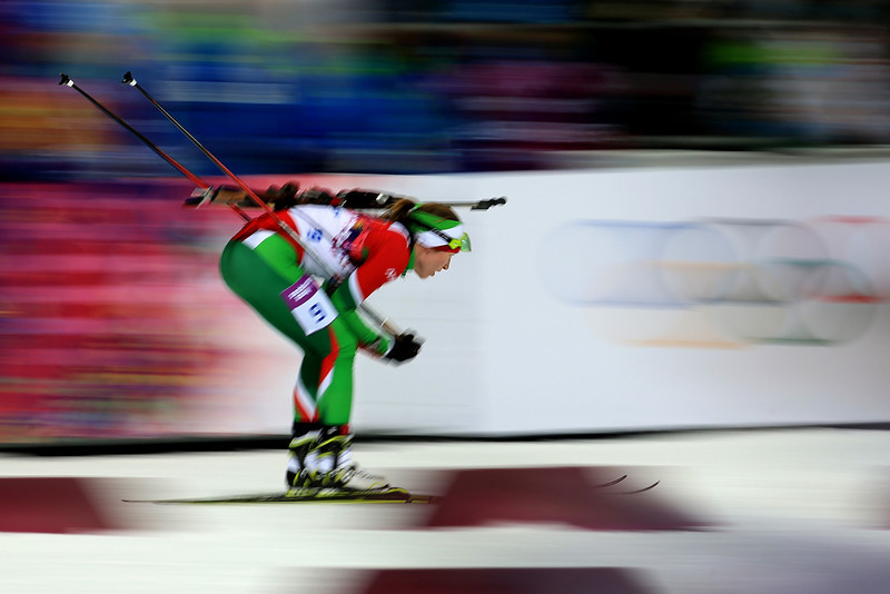 . Darya Domracheva of Belarus competes in the Women\'s 10 km Pursuit during day four of the Sochi 2014 Winter Olympics at Laura Cross-country Ski & Biathlon Center on February 11, 2014 in Sochi, Russia.  (Photo by Richard Heathcote/Getty Images)