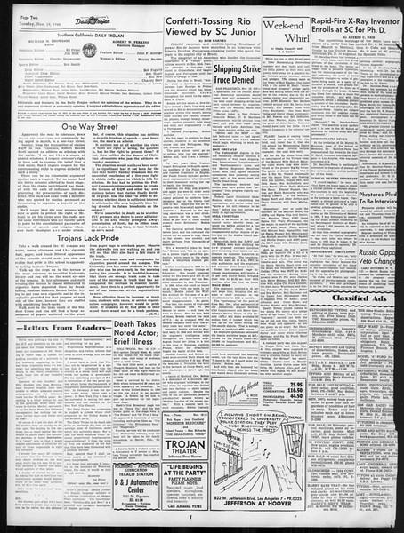 Daily Trojan, Vol. 38, No. 47, November 19, 1946