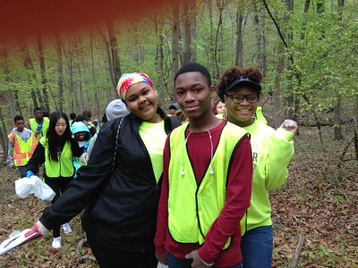 4.24.2017 Patapsco River Cleanup and Invasive Garlic Mustard Removal at PVSP Hollofield with Thomas Viaduct Middle School