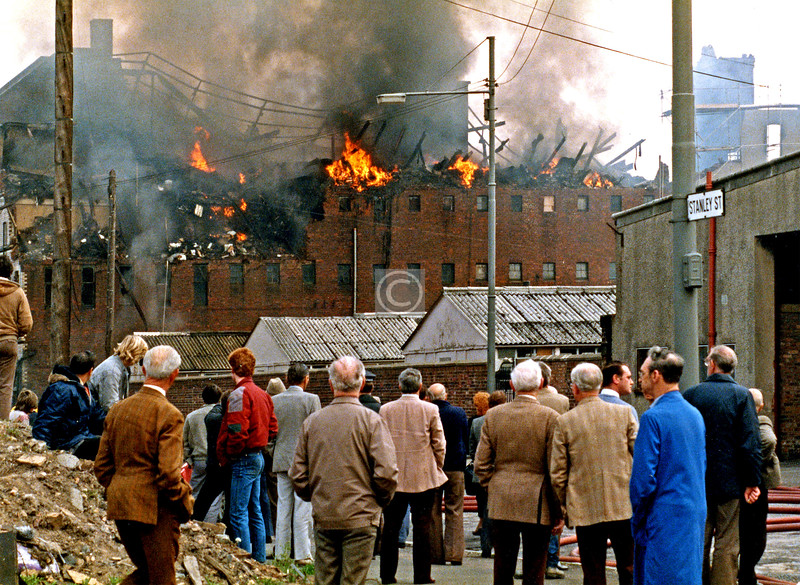 Fire at Edward McNeil's packaging warehouse in Stanley St.  May 1985