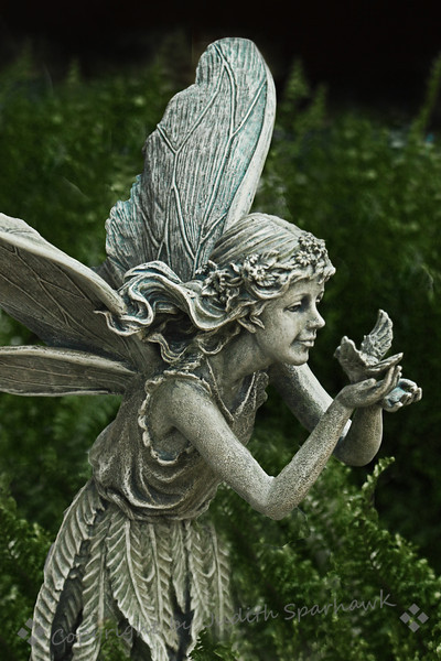 The Fairy & The Bird ~ This statue was in the garden shop at Descanso Gardens.