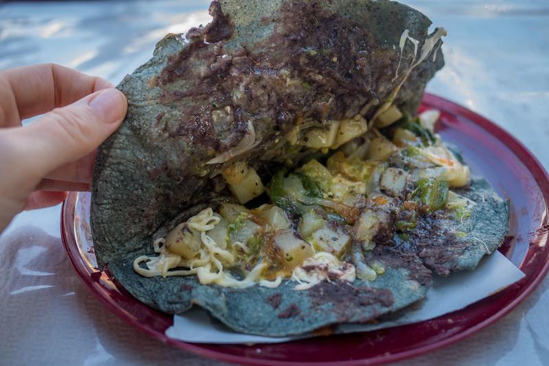 Vegetarian taco with potatoes