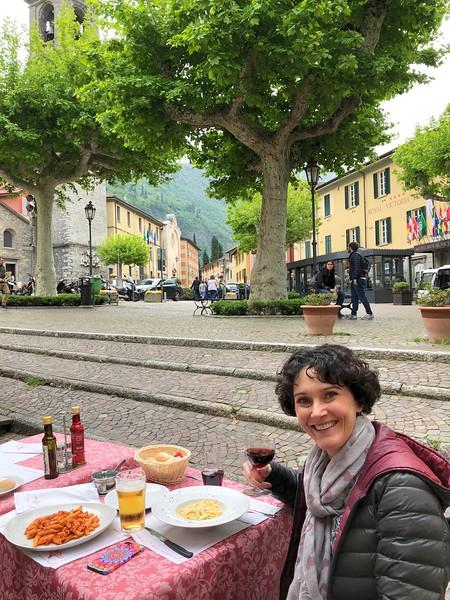 Enjoying a delicious pasta truffle dish in Varenna's main square