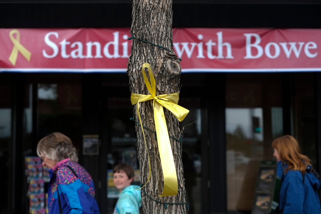 """. A yellow ribbon honoring captive U.S. Army Sgt. Bowe Bergdahl is tied to a tree in Hailey, Idaho, Friday, June 21, 2013. The Afghan war, and the taking of Bergdahl, may have long faded from the minds of most Americans. But for this community in the shadow of Idaho\'s Sawtooth Mountains, Bowe Bergdahl and his family\'s fight to free him are \""""omnipresent,\"""" said local Wesley Deklotz. \""""It\'s a whole community of people that are keeping him in their thoughts.\"""" (AP Photo/Jae C. Hong)"""