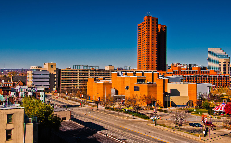 View of Key Highway and highrises from Federal Hill, in Baltimore, Maryland.