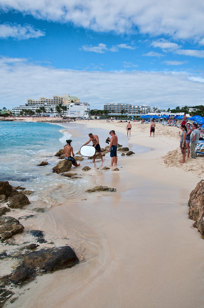 A look at Maho beach including the pirate video group.