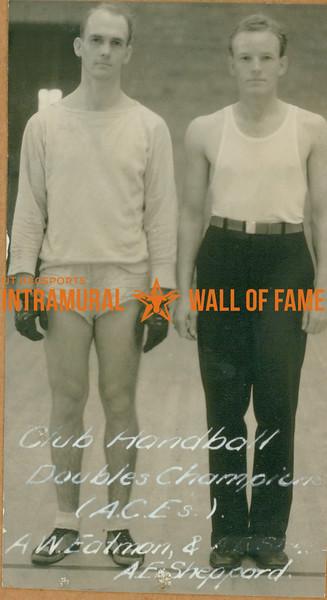 HANDBALL Club Doubles Champions  A. C. E.'s  A. W. Eatman & A. E. Sheppard