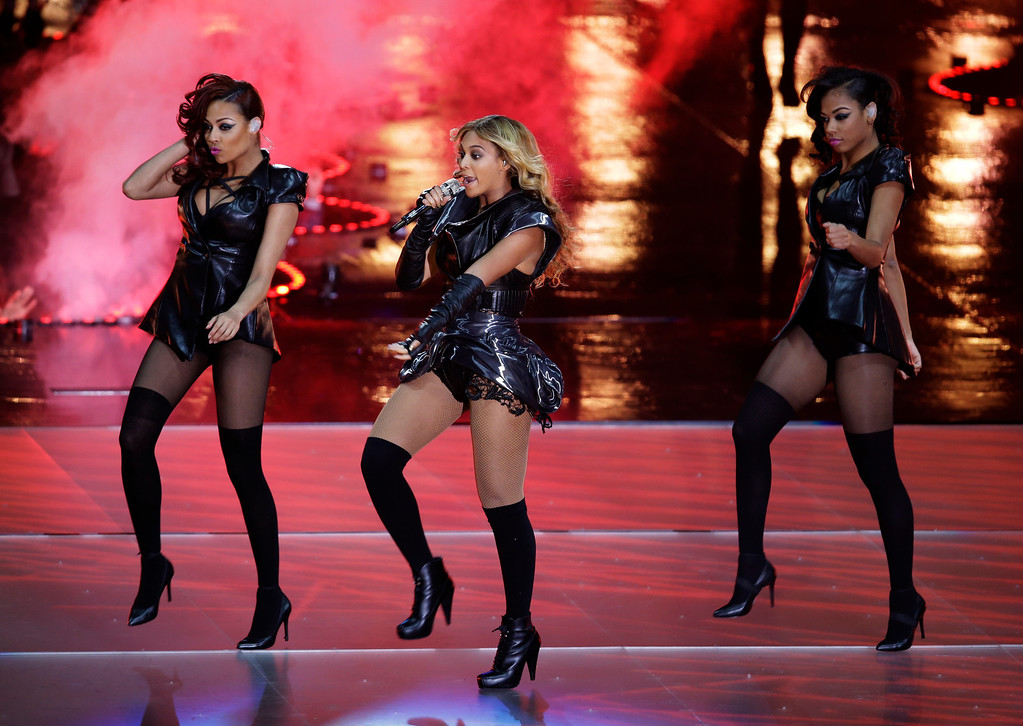 . Beyonce performs during the halftime show of the NFL Super Bowl XLVII football game between the San Francisco 49ers and the Baltimore Ravens, Sunday, Feb. 3, 2013, in New Orleans. (AP Photo/Gerald Herbert)
