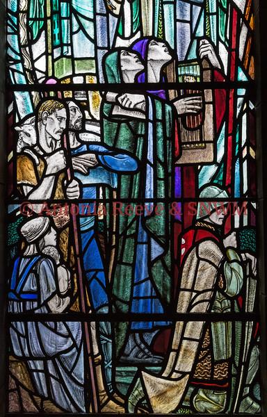 Detail of Shrine window 3, Shepherd, Knowledge, Music and Knight