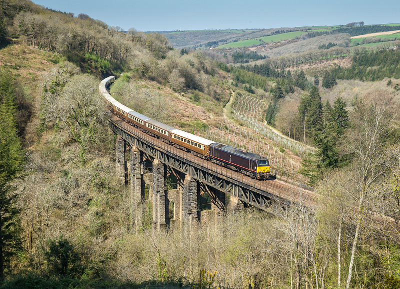 """190415   It may only be a skip but it still looks good... 67006 crosses Largin viaduct with the  1Z76 10:10 Penzance to Leeds """"The Cornish Riviera Statesman.Nice to see  you Andy."""