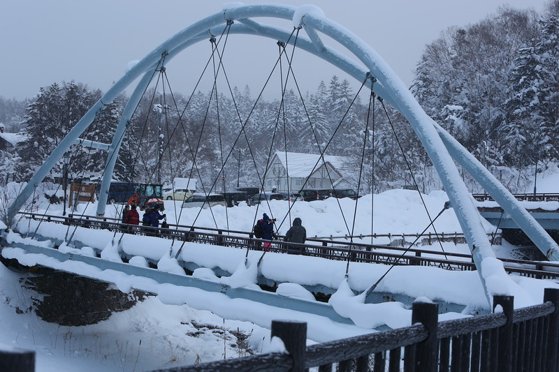 Bridge over the Shirahige Frozen Waterfall & Gorge