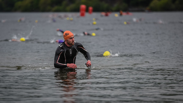Sportpursuit Slateman Triathlon - Swim Exit Orange Hats