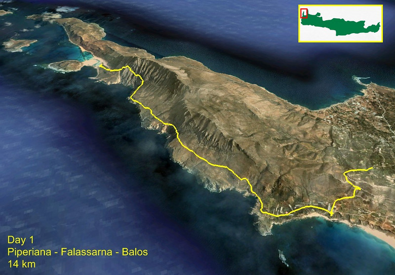 Day 1 After arriving (at 5am) on Crete we took the bus to the west to Kastelli and from there a taxi to Piperiana. This is where the hike begins, a west coast track to Balos beach.