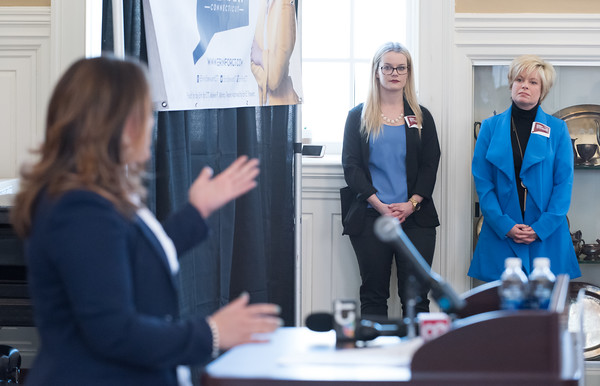 03/19/18 Wesley Bunnell   Staff New Britain Mayor Erin Stewart's Chief of Staff Jody Latina, R, looks on as Stewart addresses attendees at CCSU's Founders Hall on Monday at noon after officially announcing her candidacy for Governor of CT in the 2018 election.