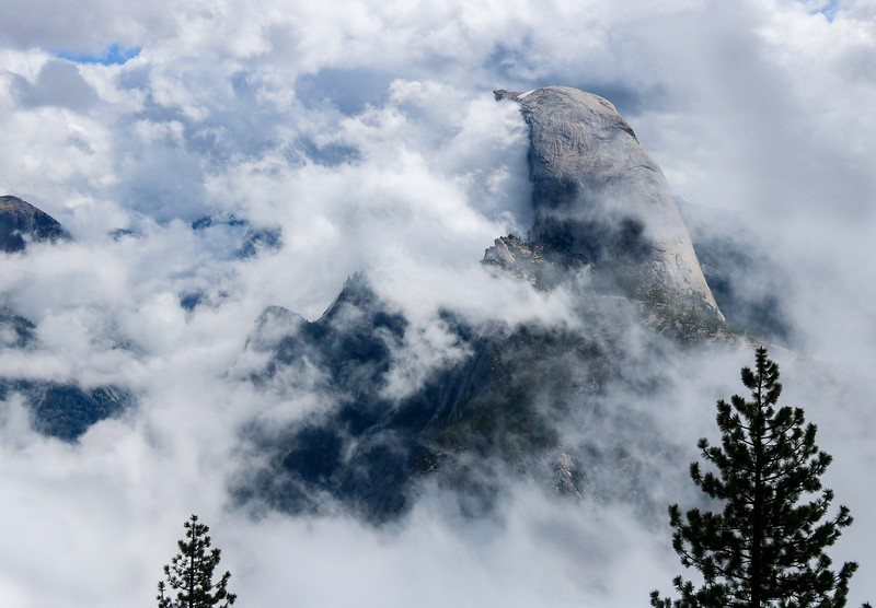There were times Friday morning when you had to be quick if you wanted all of Half Dome in a photo. Lots of clouds were moving right to left at speed.