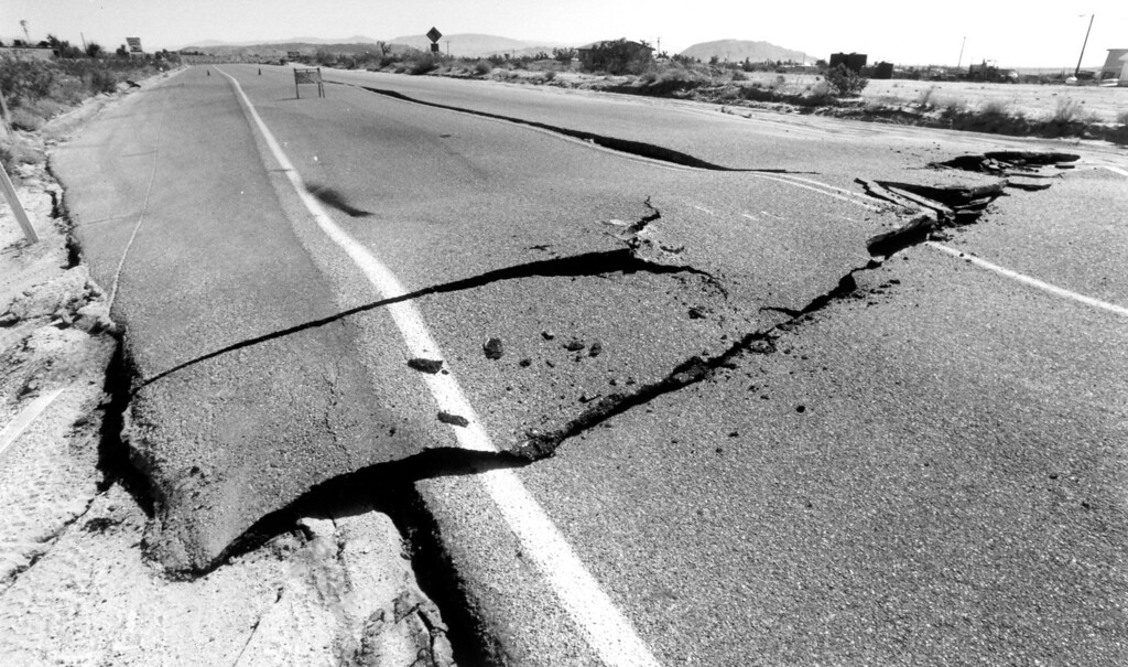 . June 28, 1992: Yucca Valley road damage.  Daily News file photo