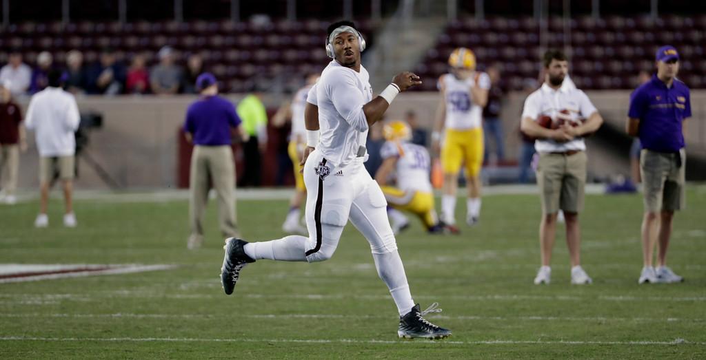 . Texas A&M defensive lineman Myles Garrett warms up before a college football game against LSU Thursday, Nov. 24, 2016, in College Station, Texas. (AP Photo/David J. Phillip)