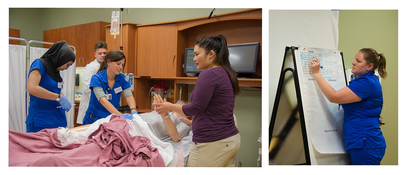 Students Asma Jan(left), DeAnna Henson, and Candace Stapp work together through an OB Simulation under Professor Shaver.