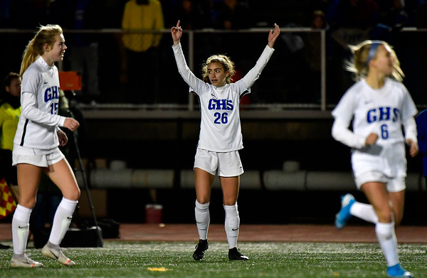 11/23/2019 Mike Orazzi | Staff Glastonbury High School celebrates 1-0 win over Southington during the during the Class LL Girls State Soccer Tournament at Veterans Stadium in New Britain Saturday evening.
